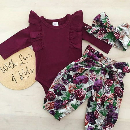 Cute Newborn Baby Girls Cotton Tops Romper Floral Pants 3Pcs Outfits Set - Gypsy Outfit