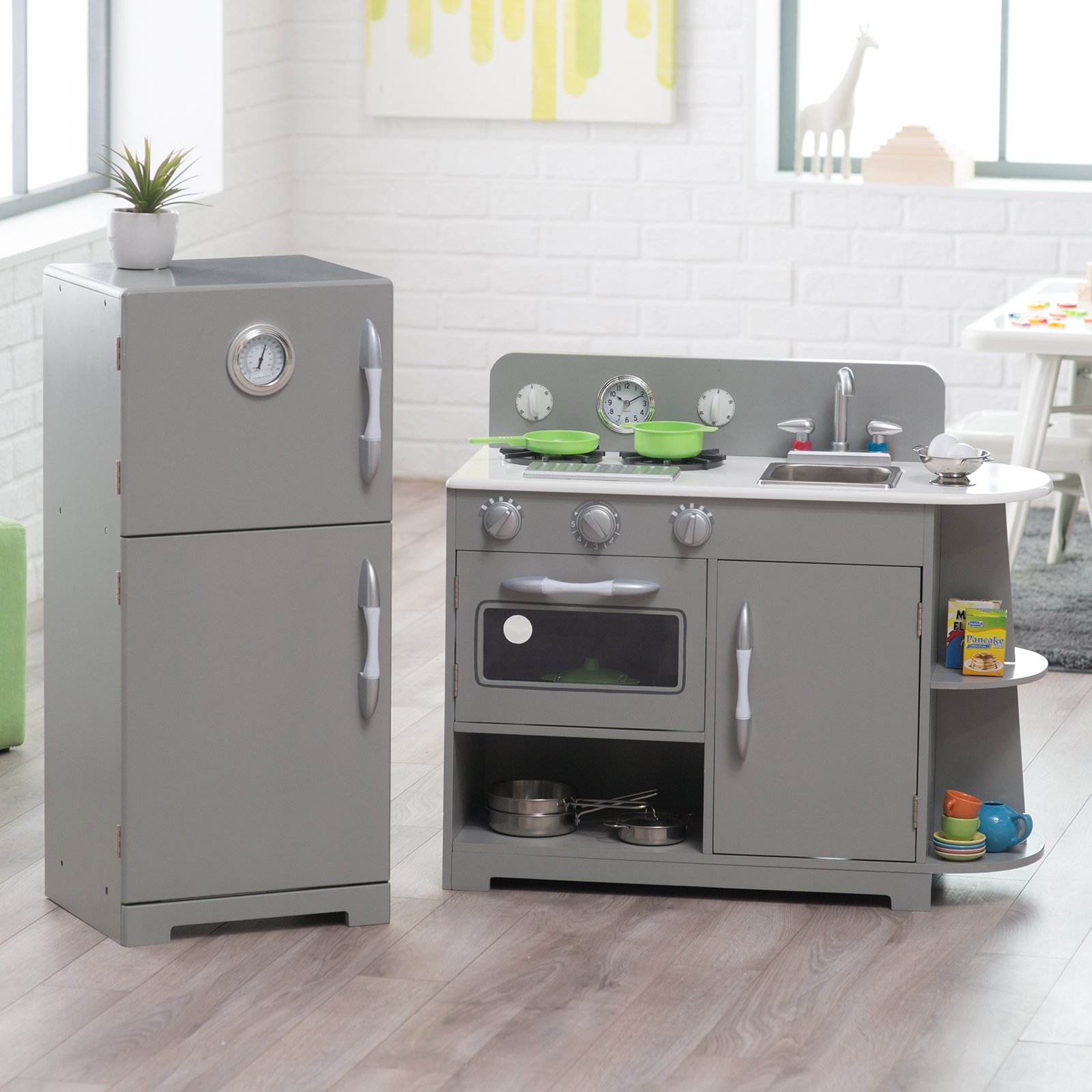 Charmant Classic Wooden Play Kitchen Set   Gray   Walmart.com