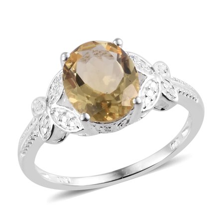 925 Sterling Silver Oval Citrine Ring Gift Cttw 2.6