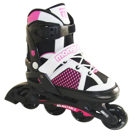 Mongoose MG-087G-L Girls' Size Large Comfortable Inline Rollerblade Skates, Pink Micro Adjust In Line Skate