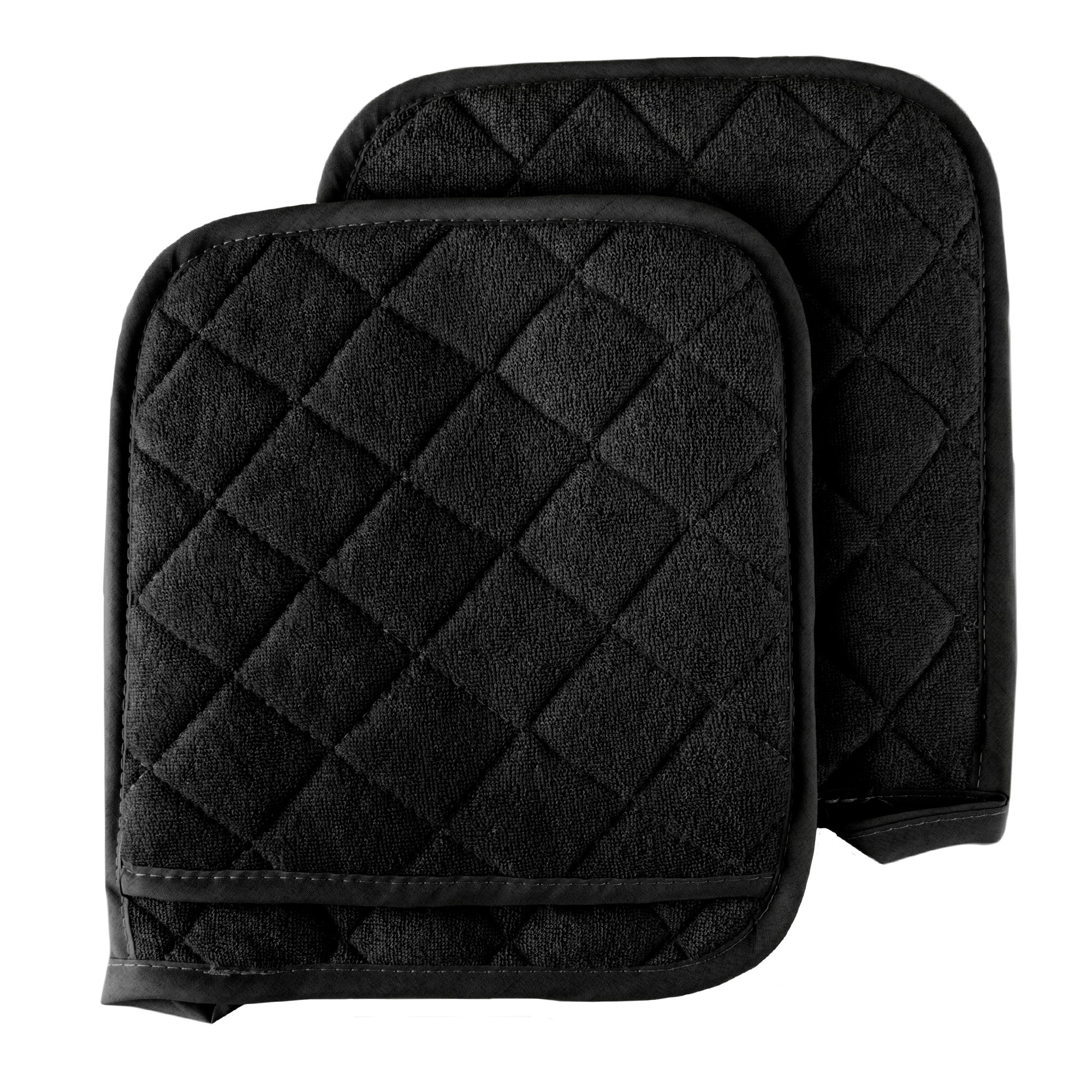 Pack of Four 4 Black Home Store Cotton Pot Holders 2 Sets of 2