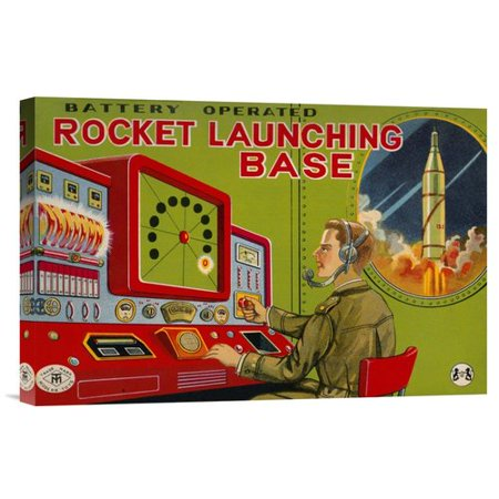 Global Gallery 'Rocket Launching Base' by Retrobot Vintage Advertisement on Wrapped Canvas