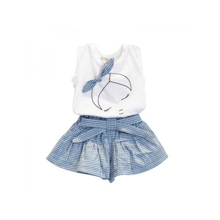 Lavaport Kids Girls Summer Causal Clothes Sets Sleeveless T-shirt Top+Plaid Short Outfits