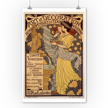 Art et Decoration Vintage Poster (artist: Lorain) France c. 1898 (9x12 Art Print, Wall Decor Travel Poster) (French Decorations)