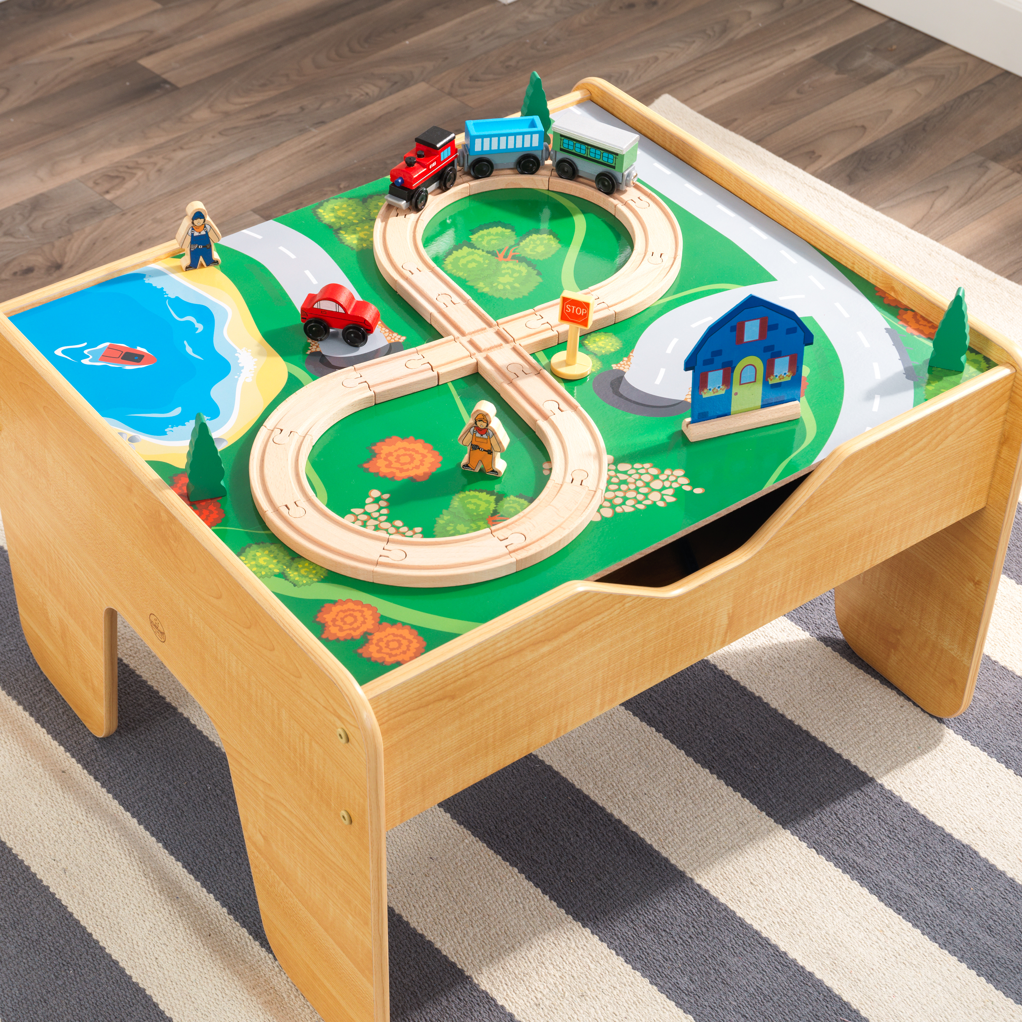 KidKraft 2-in-1 Activity Table With Board - Natural with 230 ...