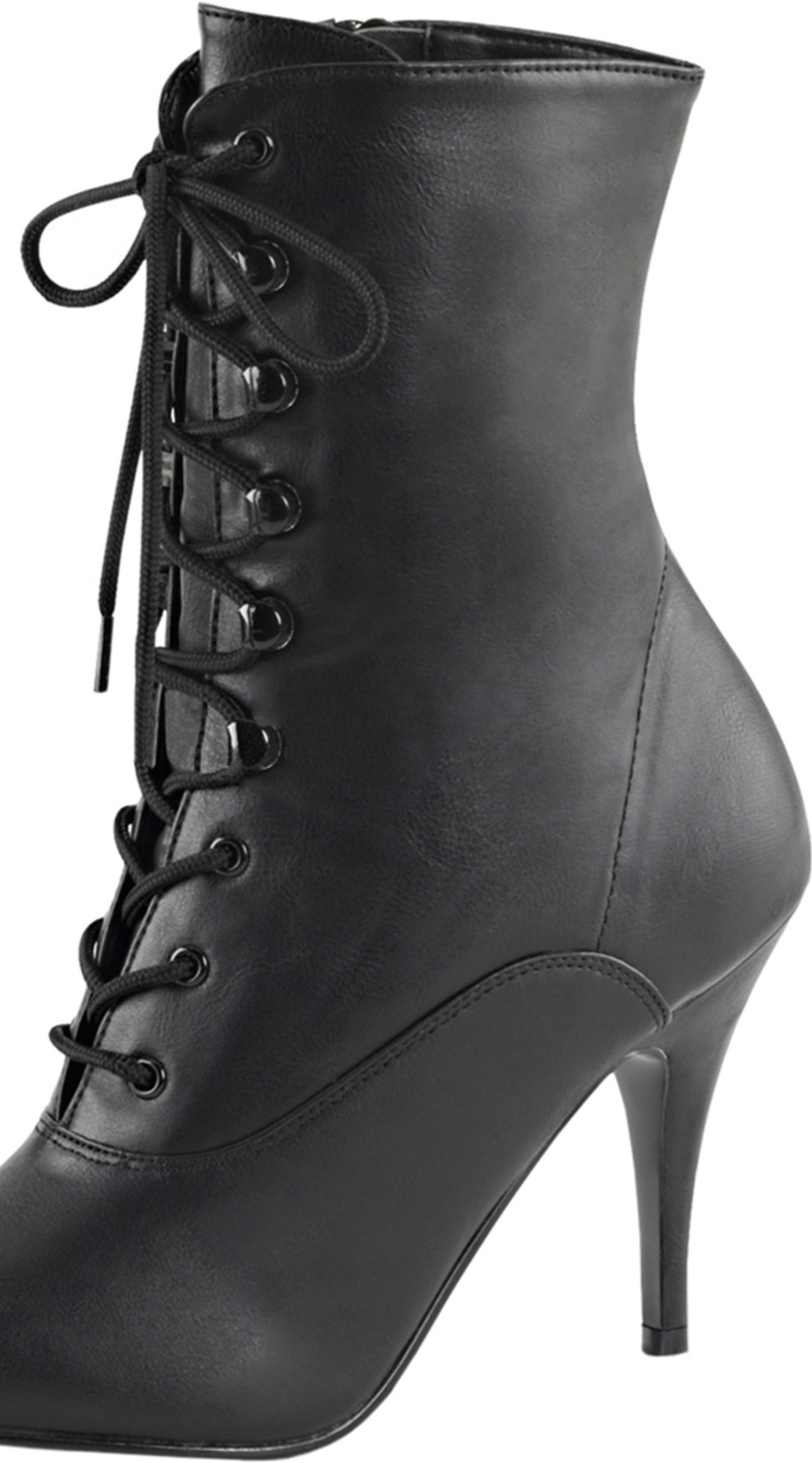 Womens Pointed Toe Boots Lace Up Booties Black Side Zipper Ankle 4 Inch Heels
