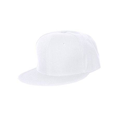 Plain Fitted Flat Bill Hat - White ()