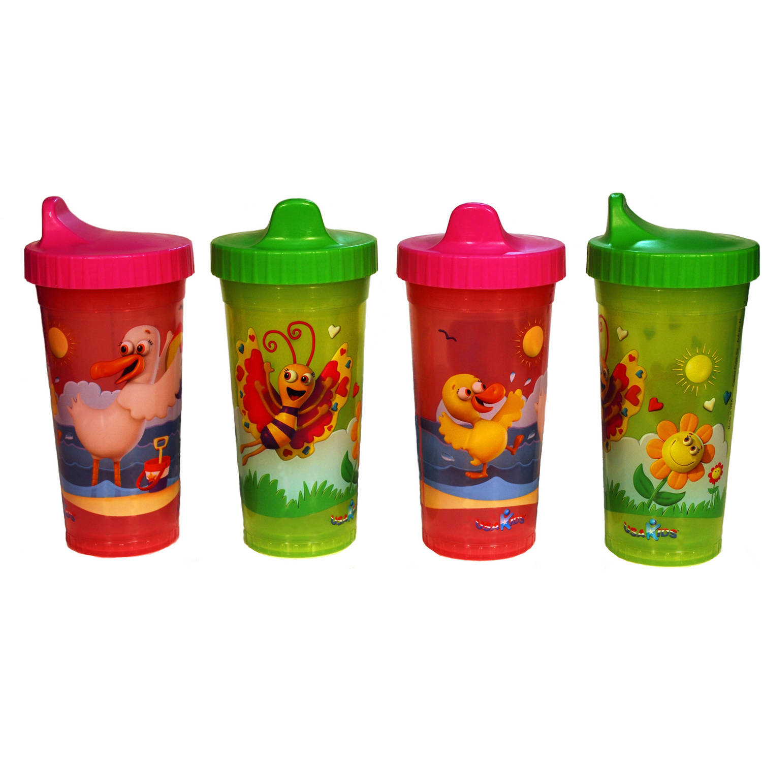 USA Kids - Fun & Sun Insulated BPA-Free Sippy Cups, 4-Pack