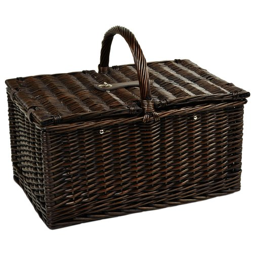 Coffee Set and Blanket Picnic at Ascot Yorkshire Willow Picnic Basket with Service for 4 Gazebo