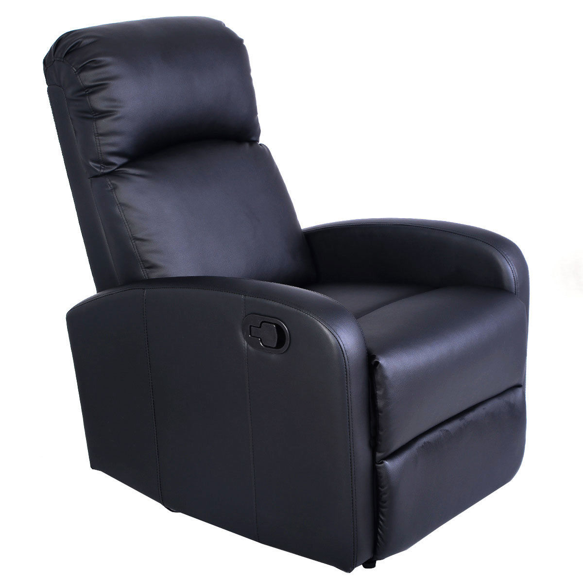 Genial Costway Manual Recliner Chair Black Lounger Leather Sofa Seat Home Theater