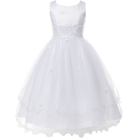 Double Layer Tulle Embroidery Little Flower Girls Communion Dresses White 2 (Size