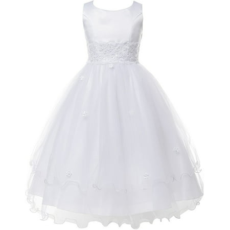 Double Layer Tulle Embroidery Little Flower Girls Communion Dresses White 2 (Size 2-16) - Little Girl Cowgirl Dresses
