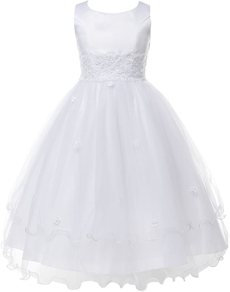 Double Layer Tulle Embroidery Little Flower Girls Communion Dresses White 2 (Size 2-16)