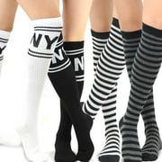 TeeHee Women's Fashion Knee High Socks - 4 Pairs Pack (NY and Stripes)