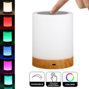 LED Touch Control Table Lamp Bedside Night Light, 3 Levels Dimmer Touch Desk Lamp Modern Nightstand Lamp Night Light for Bedroom Living Room Office