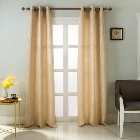 - Tasha Jacquard 76 x 84 in. Grommet Curtain Panel Pair, Beige (Set of 2)