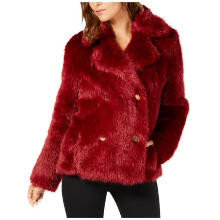 MICHAEL Michael Kors Womens Winter Double-Breasted Faux Fur (Michael Michael Kors Double Breasted Trench Coat)