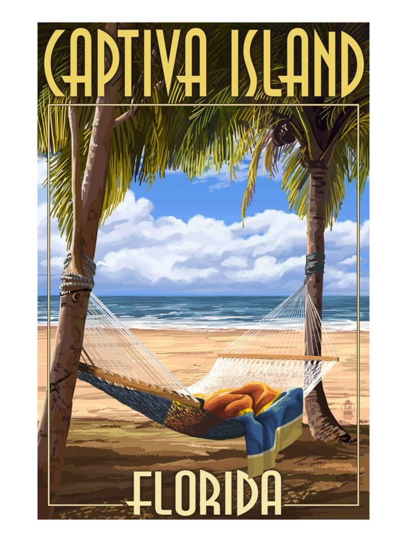Captiva Island, Florida Hammock Scene Laminated Print By Lantern Press by Art.com