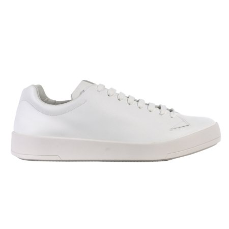 Prada Mens White Leather Lace Up Low Top Sneakers