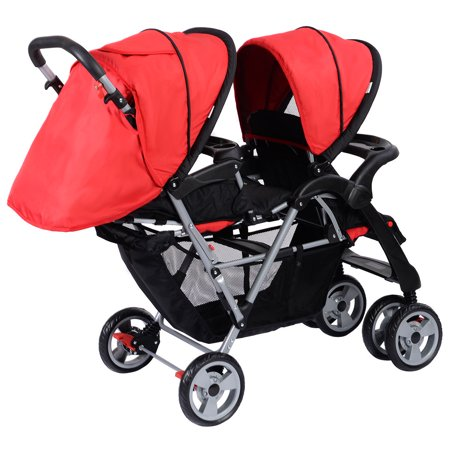 Costway Foldable Twin Double Stroller, Red