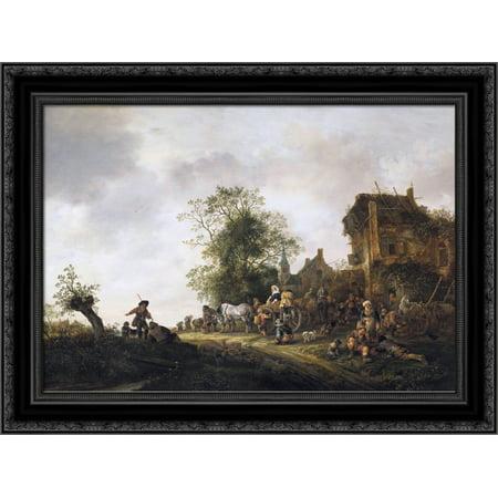 Travellers Outside an Inn 24x20 Black Ornate Wood Framed Canvas Art by Ostade, Isaac van Inn Framed Canvas