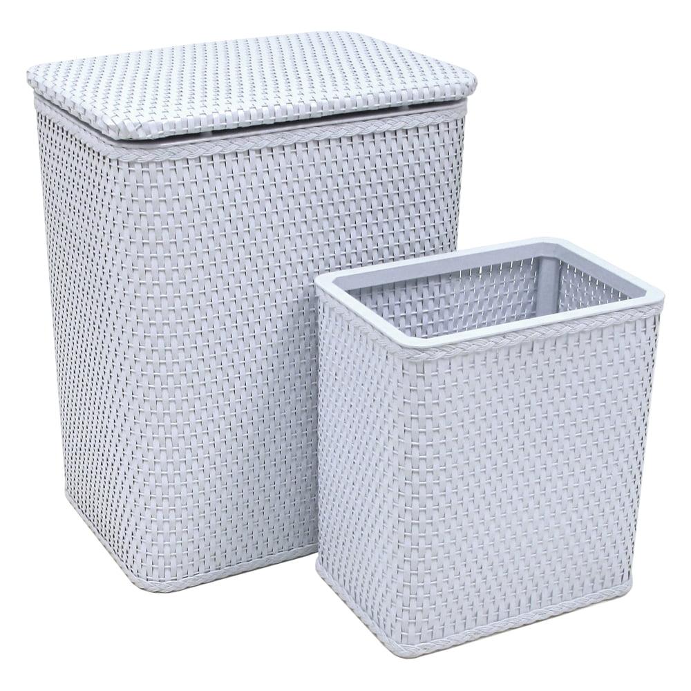 Chelsea Pattern Wicker Nursery Hamper and Matching Wastebasket Set, Illusion Blue by Redmon