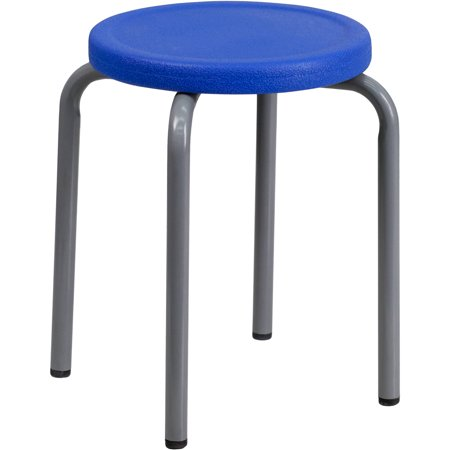 Flash Furniture Stackable Stool with Blue Seat and Silver Powder Coated Frame, 10pk
