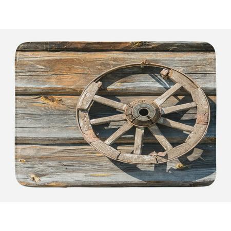- Barn Wood Wagon Wheel Bath Mat, Old Log Wall with Cartwheel Telega Rural Countryside Themed Image, Non-Slip Plush Mat Bathroom Kitchen Laundry Room Decor, 29.5 X 17.5 Inches, Umber Beige, Ambesonne