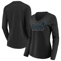 Carolina Panthers Fanatics Branded Women's Scoreboard Shimmer Long Sleeve V-Neck T-Shirt - Black