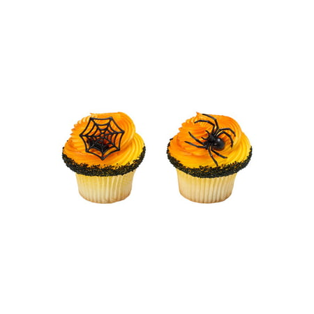 24 Spider Ghoulish Halloween Cupcake Cake Rings Birthday Party Favors Toppers (Halloween Wedding Toppers)