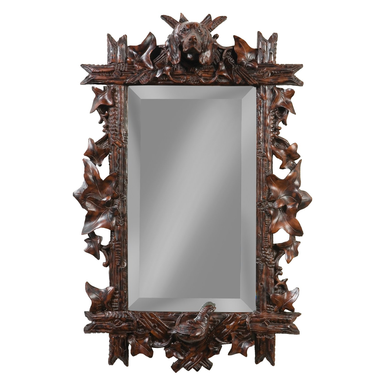 Oklahoma Casting Dog and Quail Bevel Wall Mirror