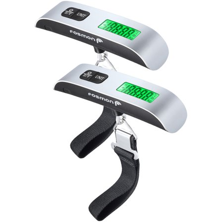 - Digital Luggage Scale (2 Pack), Digital LCD Display Backlight with Temperature Sensor Hanging Luggage Weight Scale, Up to 110LB with Tare Function
