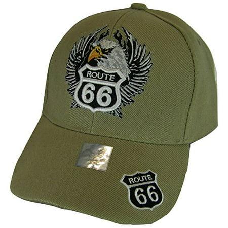 - Men's Patriotic Eagle & Route 66 Adjustable Baseball Cap (Khaki)