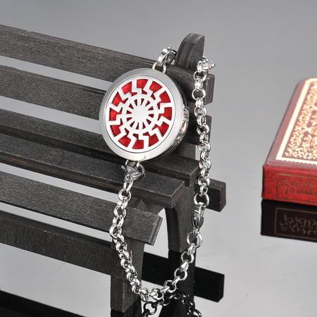 Round Wheel Perfume Essential Oil Diffuser Bracelet Locket Aromatherapy