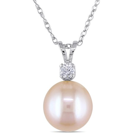 6-6.5mm Pink Round Cultured Freshwater Pearl and 1/8 Carat T.G.W Created White Sapphire 14kt White Gold Fashion Pendant, 17