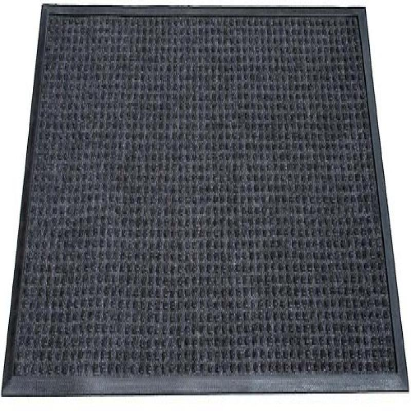 "Durable Corporation Polyester Stop-N-Dry Polyester Carpet Mat, for Indoors & Vestibules, 24"" Width x 36"" Length x 1/2"" Thickness, Charcoal"