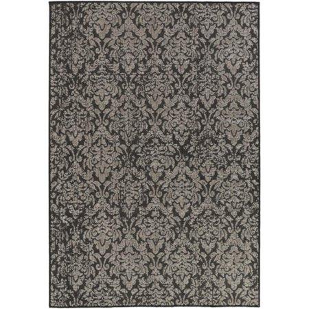 bantu damask granite gray and ebony black area throw rug