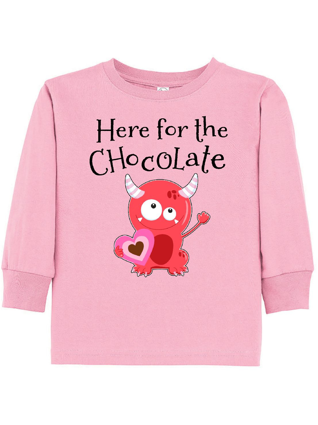 Here for the Chocolate- cute Valentine monster Toddler Long Sleeve T-Shirt