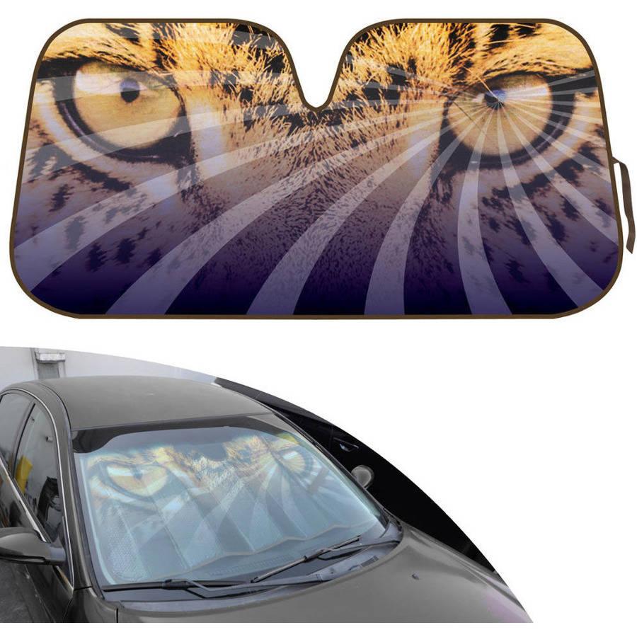BDK Design Auto Auto Shade for Car SUV Truck, Mesmerizing Hypnotic Leopard Eyes, Jumbo, Double Bubble Folding Accordion
