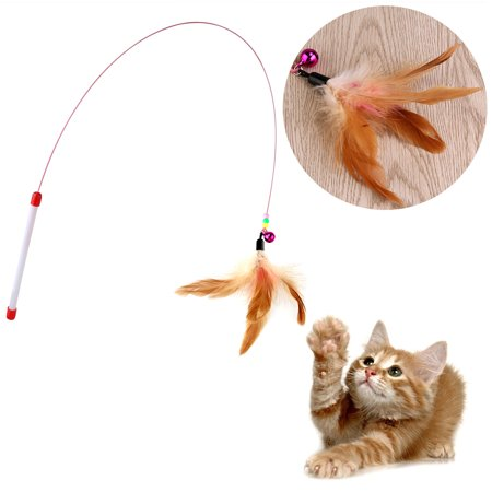 TINKSKY Pet Toy Wire Chaser Wand Teaser Feather With Bell Beads Play Fun (Random colour)