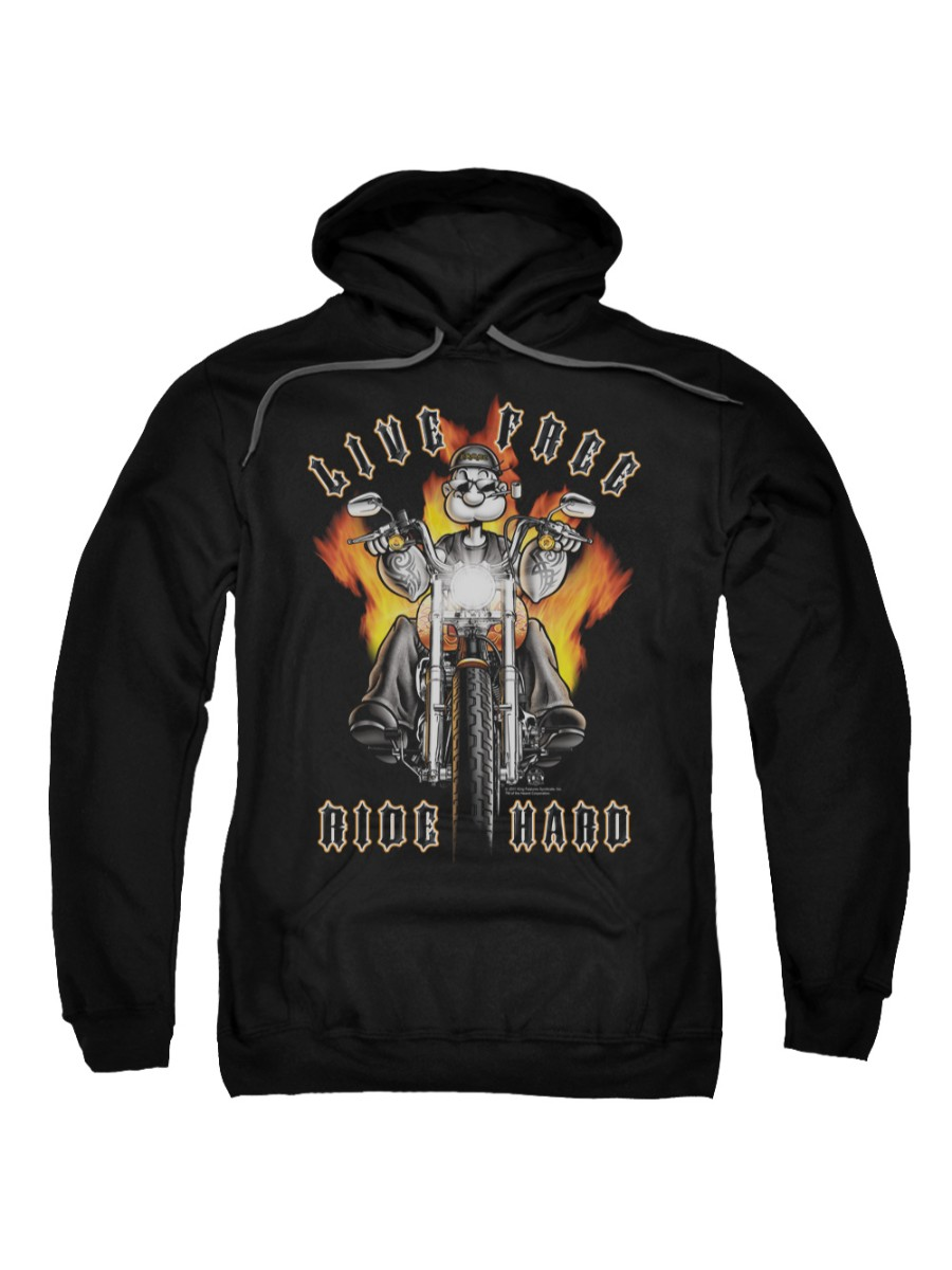 Popeye The Sailor Man Cartoon Character Ride Hard Adult Pull-Over Hoodie