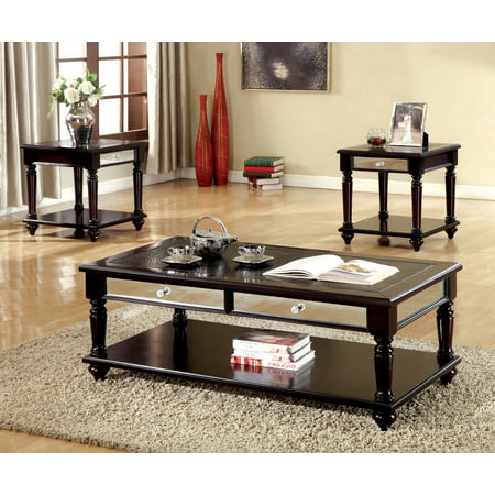 Furniture Of America Horace Crocodile Leatherette Top 3 Pc Occasional Table Set