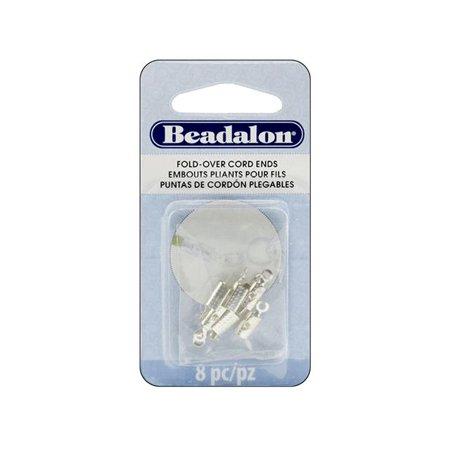 Beadalon Cord Ends Fold Over 4.6mm Slvr Plt 8pc