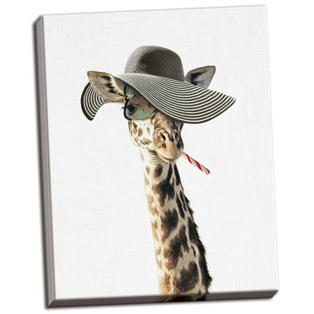 Gango Home Decor Vertical Giraffe Dressed in a Hat by Tai Prints (Ready to Hang); One 16x20in Hand-Stretched - Giraffe Home Decor