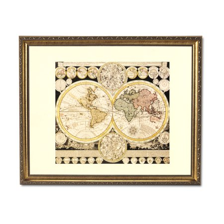 Old World Map With Zodiac Vintage Style Home Decor Wall Picture Gold Framed Art Print (Map Pictures)