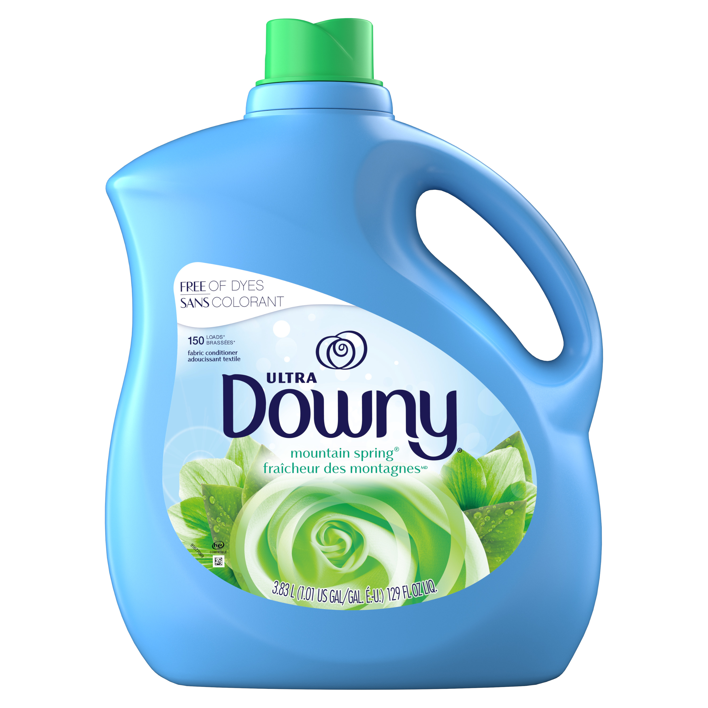 Downy Mountain Spring Liquid Fabric Conditioner (Fabric Softener), 150 Loads 129 fl oz