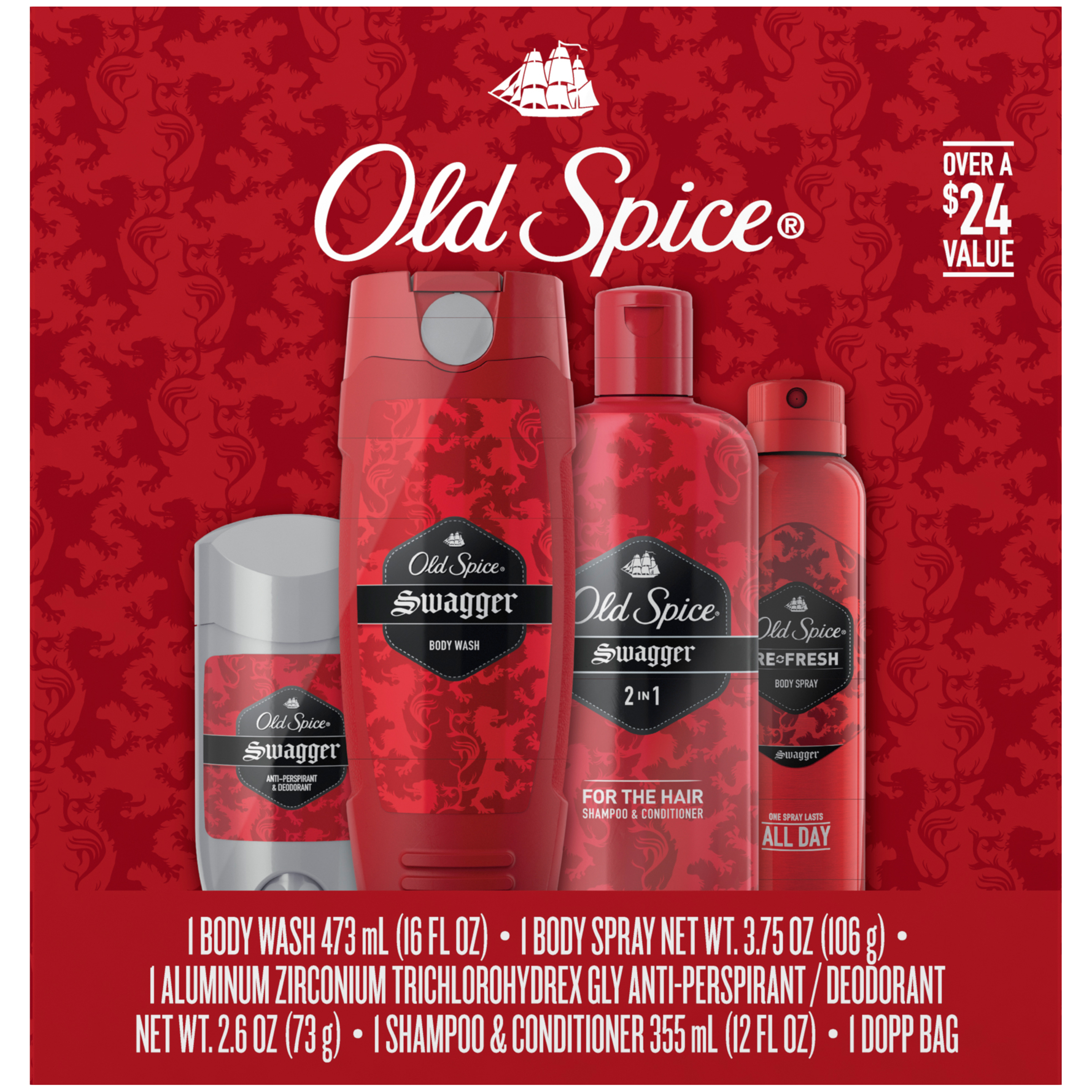 Old Spice Swagger Red Zone Body Wash, Body Spray, Deodorant & Shampoo Gift Pack - 5 Pc