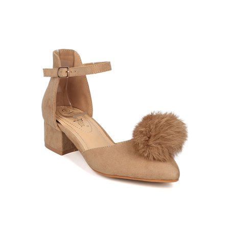 Nature Breeze GG71 Women Faux Suede Pom Pom dOrsay Ankle Strap Chunky Heel Pump GG72