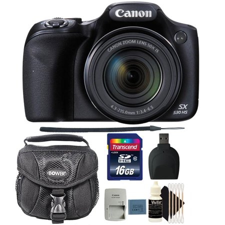 Canon PowerShot SX530 HS 16MP Digital Camera with 16GB Top Accessory Bundle
