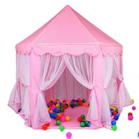 WALFRONT Fashionable Lovely Princess Castle Play House Large Outdoor Kids Play Tent Hexagon Princess Play Tent Six Corner Princess Tent with Zippered Storage Bag for Girls (Pink)